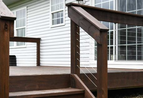 Cable railing system with wood posts