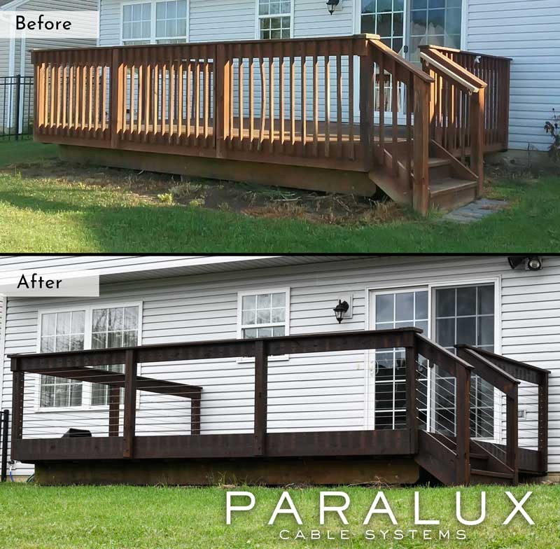 before and after cable railing installation remodel