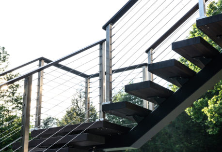 Cable railing with stainless steel posts