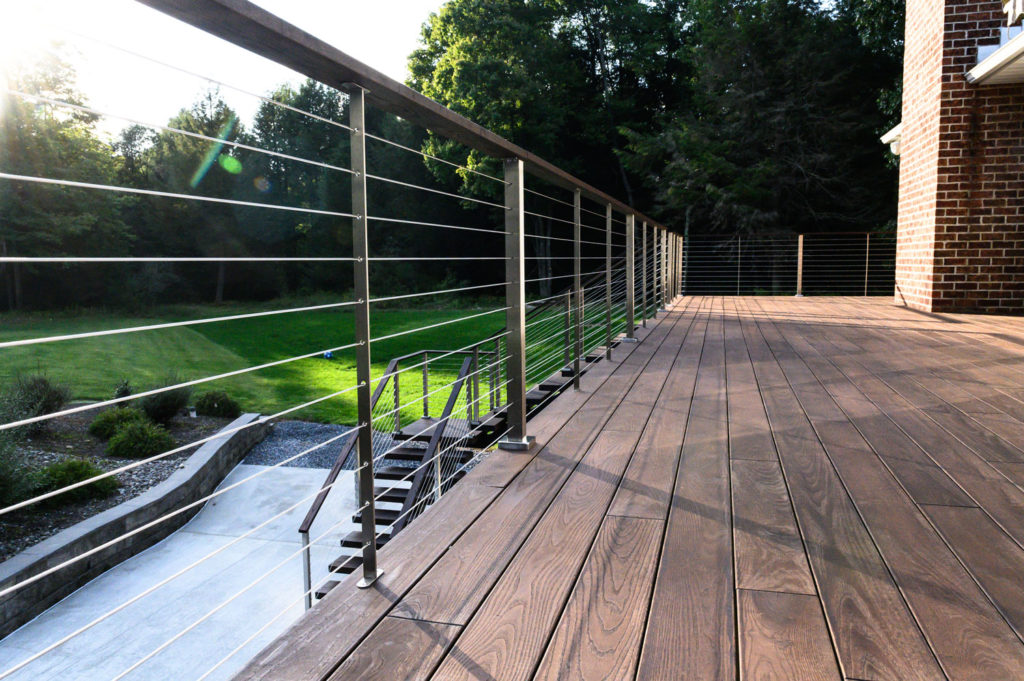 Cable railing on metal posts